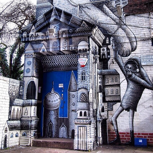 Street art by British artist Phlegm