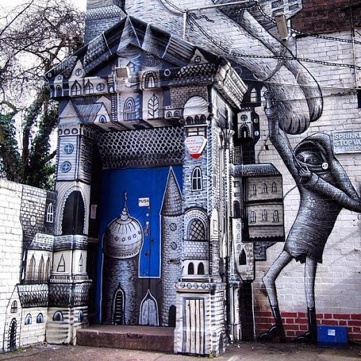 Street art by British artist Phlegm