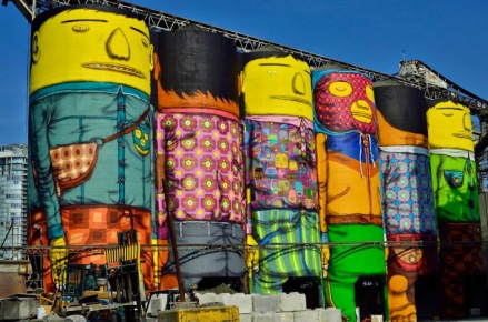 Street art in Vncouver (Granville Island), Canada, by artist Os Gemeos. Photo by Vancouver Biennale _ Roaming-the-Planet