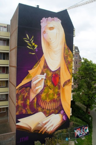 """""""Creed""""+Street+art+in+Heerlen,+The+Netherlands,+by+Chilean+artist+INTI+(for+the+HRLN+project).+Photo+by+StreetArtNews"""