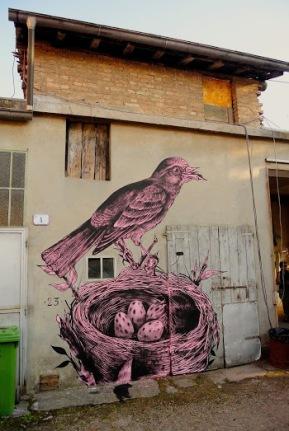 """Nest""+Street+art+in+Fornovo+di+Taro,+Italy,+by+artist+James+Kalinda"