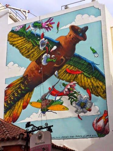 Street art in Puerto de la Cruz, Spain, by LIQEN. Photo by Puerto Street Art.