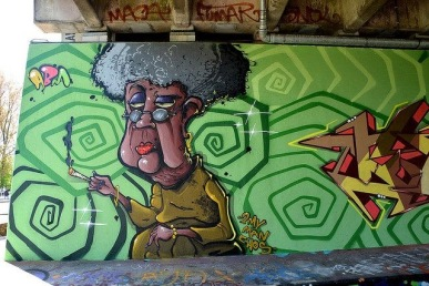 Street art in Amsterdam, The Netherlads, by artist ABM. Photo by Amsterdam SA
