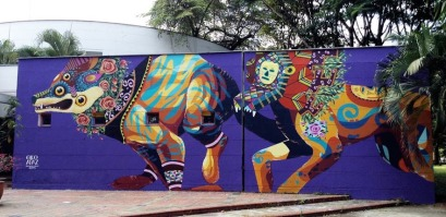 Street art in Colombia by artists Gleo and Apaz