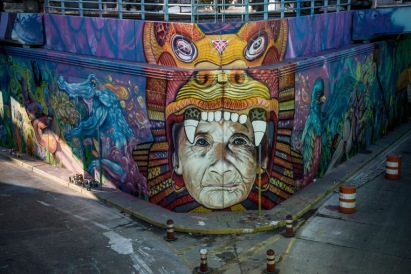 Street art in Buenos Aires (En tunel NK, Caseros), Argentina, by artists Martin Ron, THG (tekaz-Bater-Heis) and Jiant.