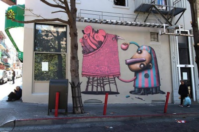 -Who's the puppet-Street art in Chinatown, San Francisco, USA, by artists ADOR and SEMOR