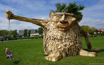 """Z """"Troels The Troll""""Wood sculpture in Horsens, Denmark, by Danish artist Thomas Dambo"""