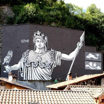 Street art in Breno, Italy, by artist Ozmo