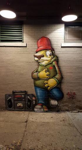 Street art in Kansas City, USA, by artist Donald Ross Scribe