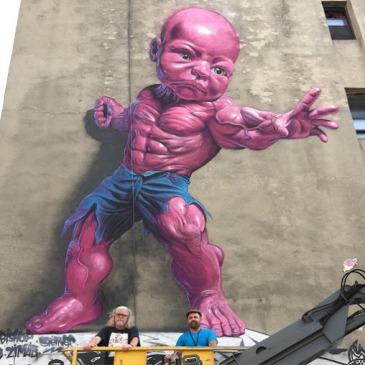 -Temper Tot-Street art in Manhattan (114 Mulberry Street in Little Italy), New York City, USA, by artist Ron English. Photo by StreetArtNews