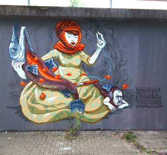 Street art in Essen, Germany, by artist Rookie The Weird
