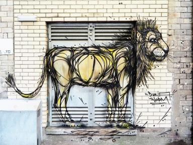 Street art in Glasgow, Scotland, UK, by Belgian artist Dzia Krank
