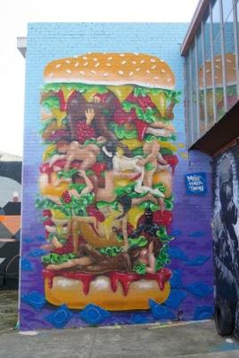 -Kama Sutra Burger-Street art in Melbourne (Sunshine Lane Brunswick), Australia, by Melbourne-based artist Makatron (Everfresh Studio).Photo by Dean Sunshine.
