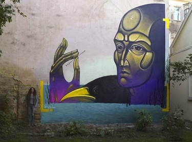 Street art in Černivci, Ukraine by artist Teck