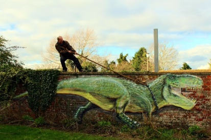 Street art in Malmesbury, UK, by artist The Stencil Shed..-
