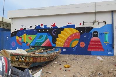 Street art in Dakar, Senegal, by Spanish artist H101