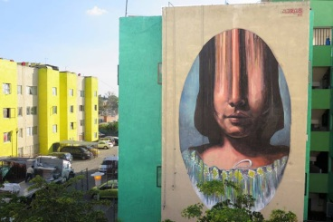Street art in Guadalajara, Mexico, by artist Mariela Ajras (for Rodearte Festival Urbano)