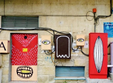Street art in Veliko Tarnovo, Bulgaria, by artists Gery+Lora+Mouse. Photo by Street Art in V.Tarnovo