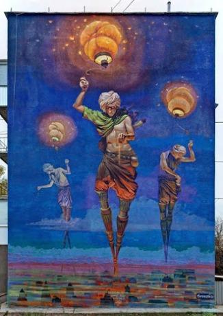 Street art in Ukraine by artist ALEXANDER GREBENYUK. Photo by Les Z'arts de la Street