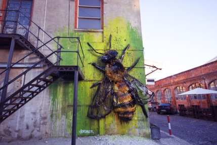 -Bee- Trash street art installation in Lisbon, Portugal, by Portuguese artist Bordalo II