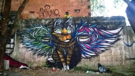 Street art in Sao Paulo (Jardim Tres Coraçoês), Brazil, by artist Gatuno