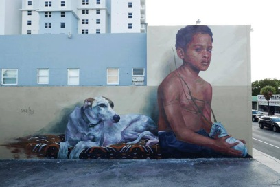 -Identity-Street art in Miami, FL , USA, by artist Evoca1 This mural is a depiction of childhood memories and exploring the cultural struggles of childhood discipline and the search for identity.
