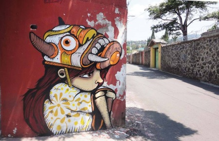 """Contemplando el horizonte""Street art in Mexico by artist Trasher"