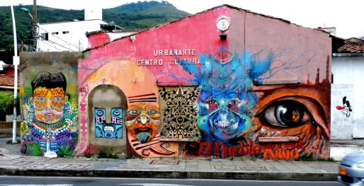 Street art in Cali, Colombia, by artist Jorge Niño Castillo and friends