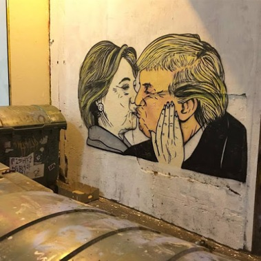 #trump #clinton#streetart in Australia by artist Lushsux