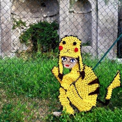 Yarn #streetart in Rome, Italy, by artist London Kaye. Photo by Urban Knitting Bilbao