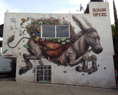 #streetart in Mexico by artists Olivier Bonnard and Opire